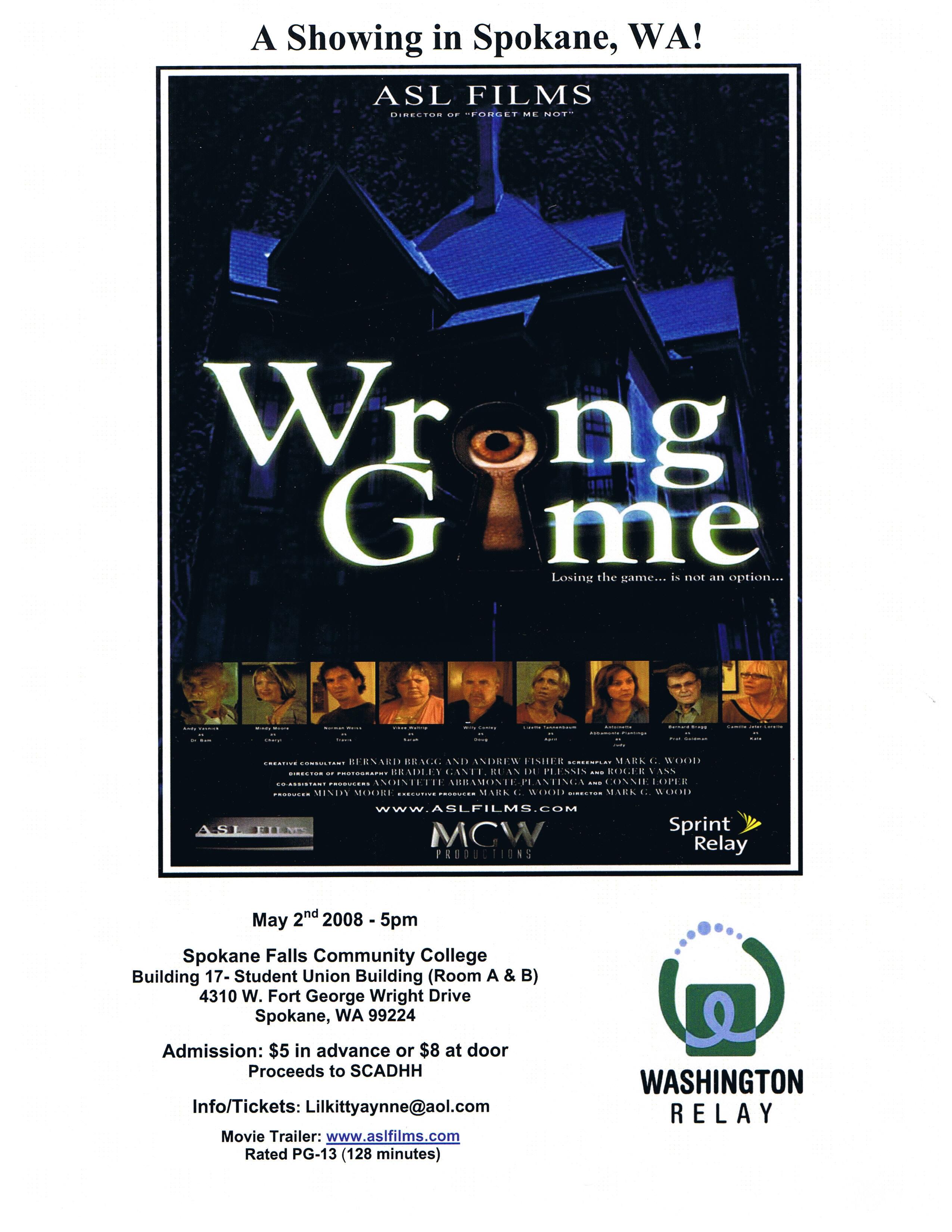 """ASL Movie: """"Wrong Game"""", Friday, May 2nd 5 pm at SFCC."""
